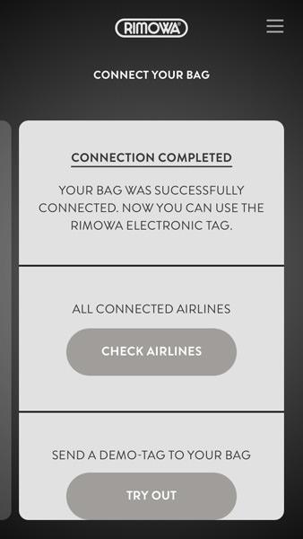 電子タグの使い方 - スーツケースの登録完了